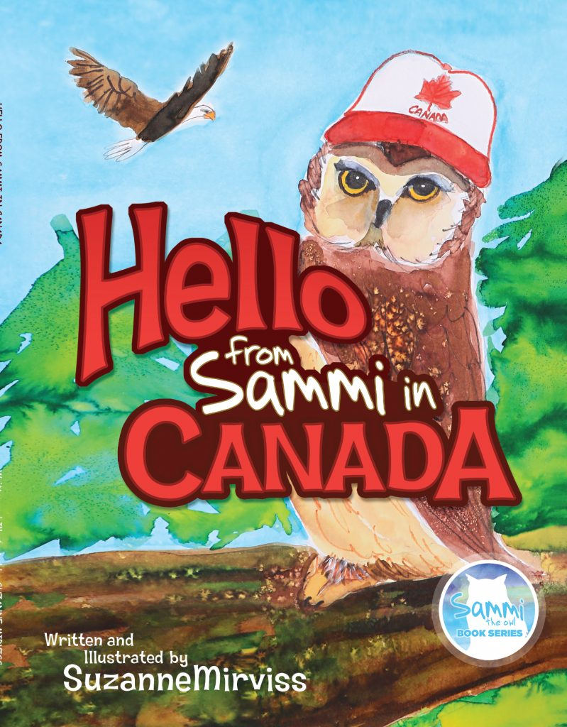 Photo of third Sammi book. Sammi has Canada ball cap and a Bald Eagle is in the background.